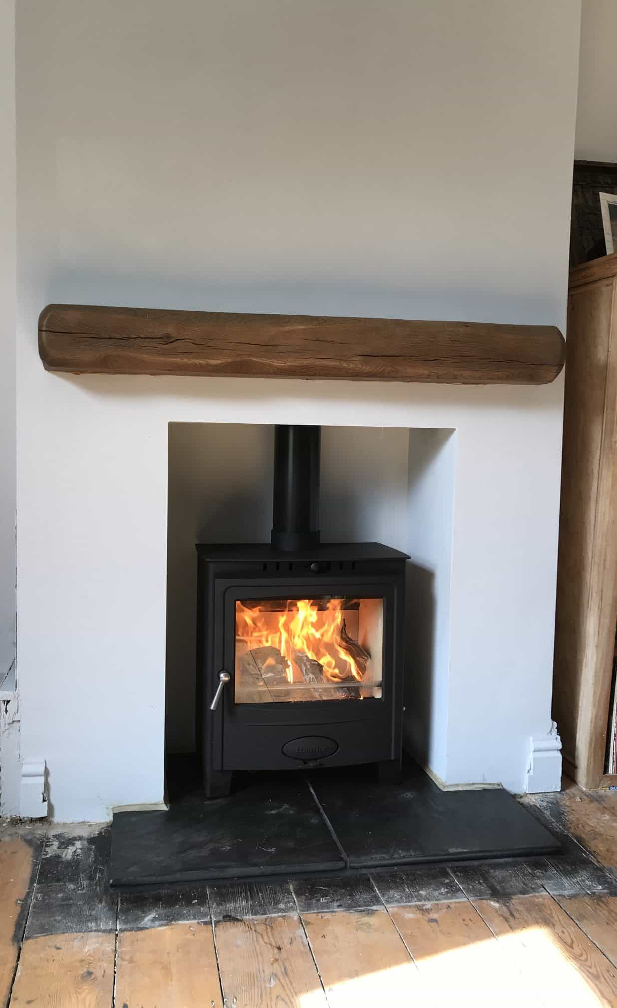 Hamlet solution 5 widescreen multi fuel stove which is a clean burning appliance and chimney liner installed in faversham kent